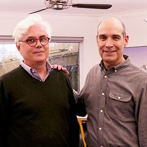 WTTW host Geoffrey Baer (right) with Architect Scott Merrill.