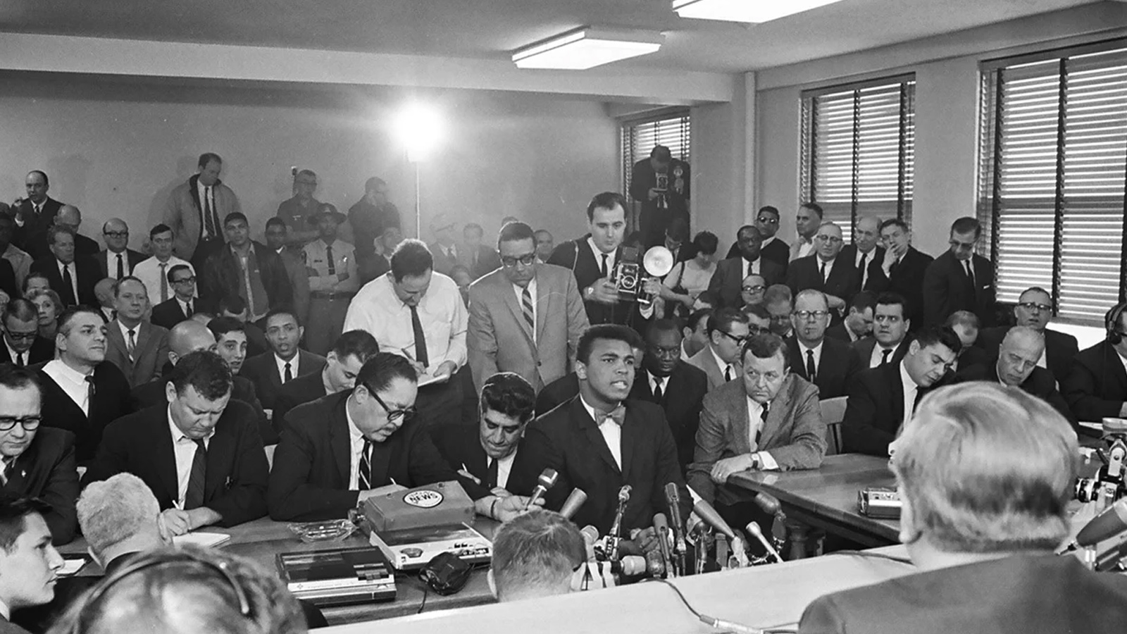 Muhammad Ali in a hearing with the Illinois Athletic Commission on February 25, 1966 over whether to cancel his fight against Ernie Terrell for Ali's refusal to serve in the military.