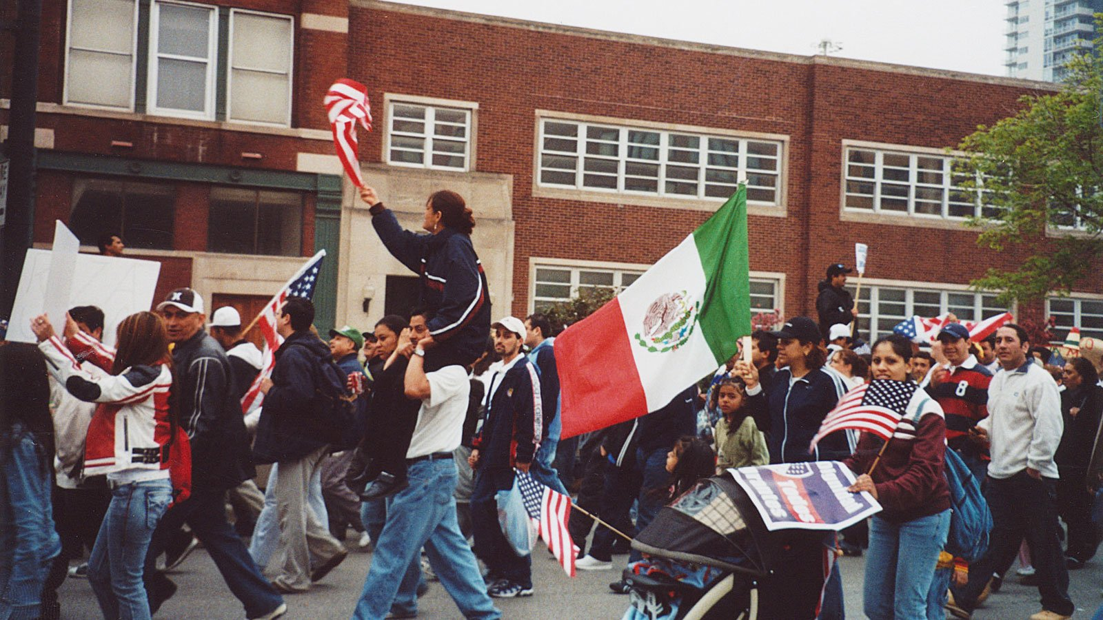 Participants at a May Day Parade, 2006. Courtesy of Roosevelt University's Archives