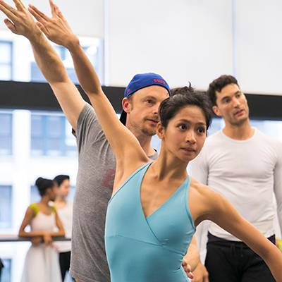 Christine Rocas, Christopher Wheeldon, and Fabrice Calmels in rehearsal (Photo by Todd Rosenberg)