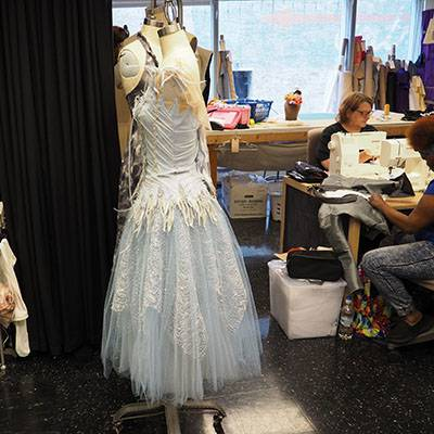 A snow costume in the costume shop (Photo courtesy of the Joffrey Ballet)