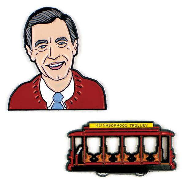 Mister Rogers and Trolley Enamel Pins