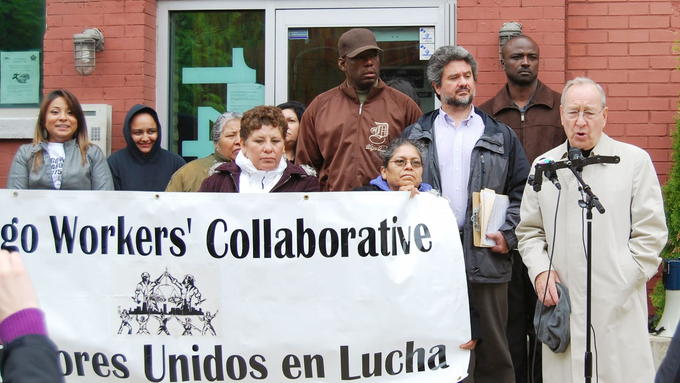 protesting outside day laborer ctr