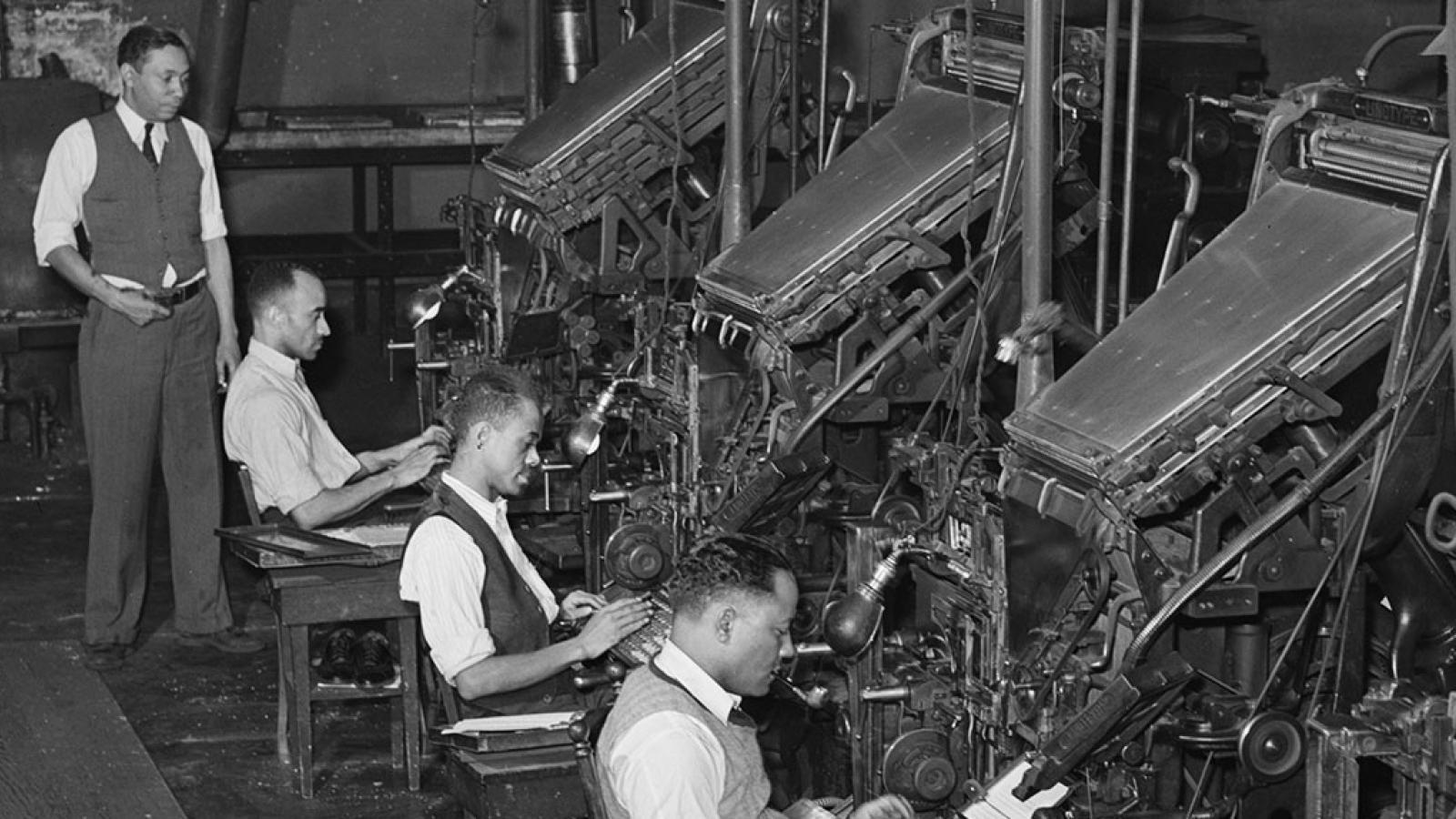 Linotype operators at the Chicago Defender