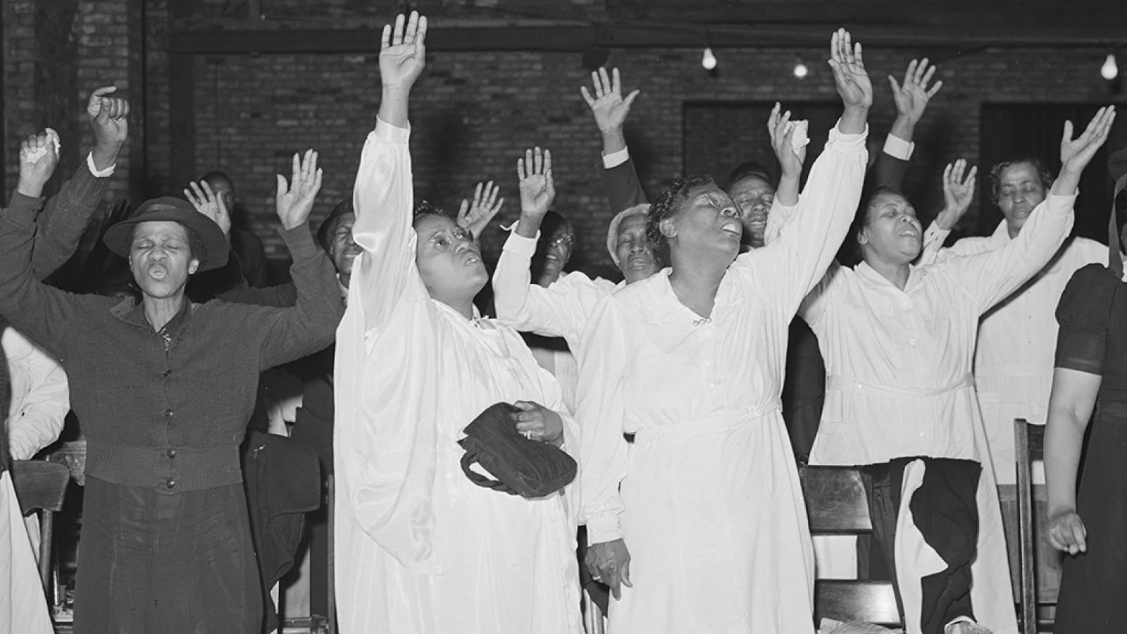 Vintage photo of Black churchgoers