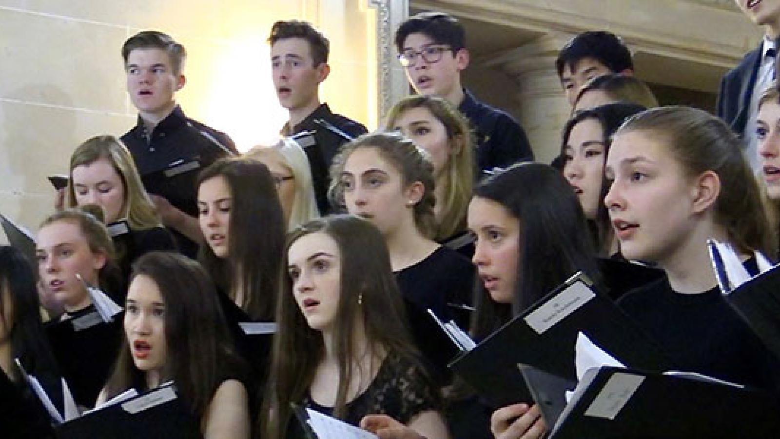 Children in choir singing