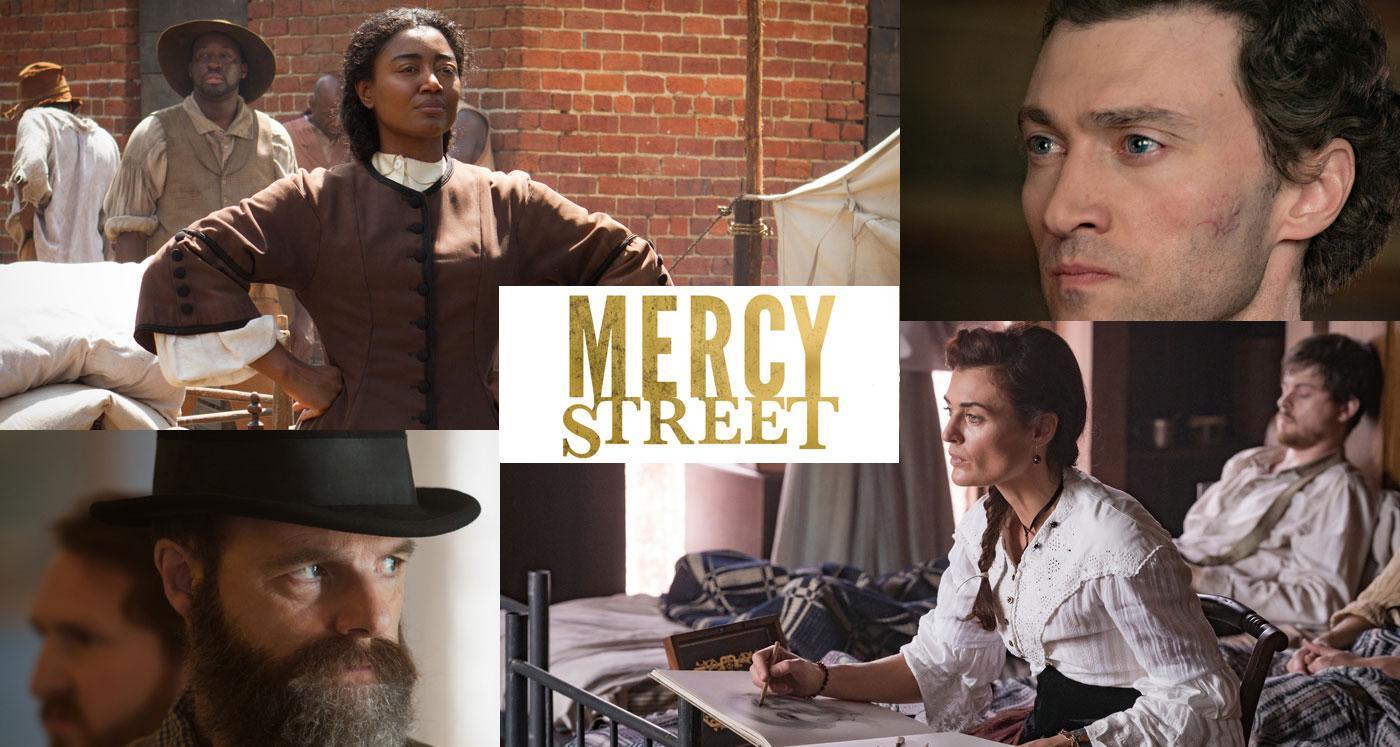 Charlotte Jenkins, Major McBurney, Lisette Beaufort, and Allan Pinkerton in Mercy Street. (Photos courtesy of PBS/Erik Heinila)