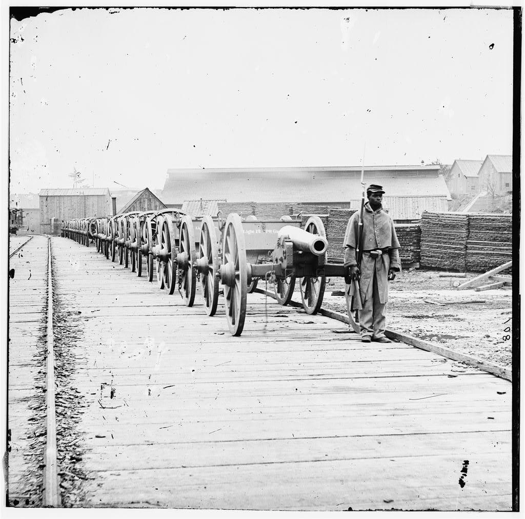 Unidentified Black Soldier with Cannons. (Library of Congress)