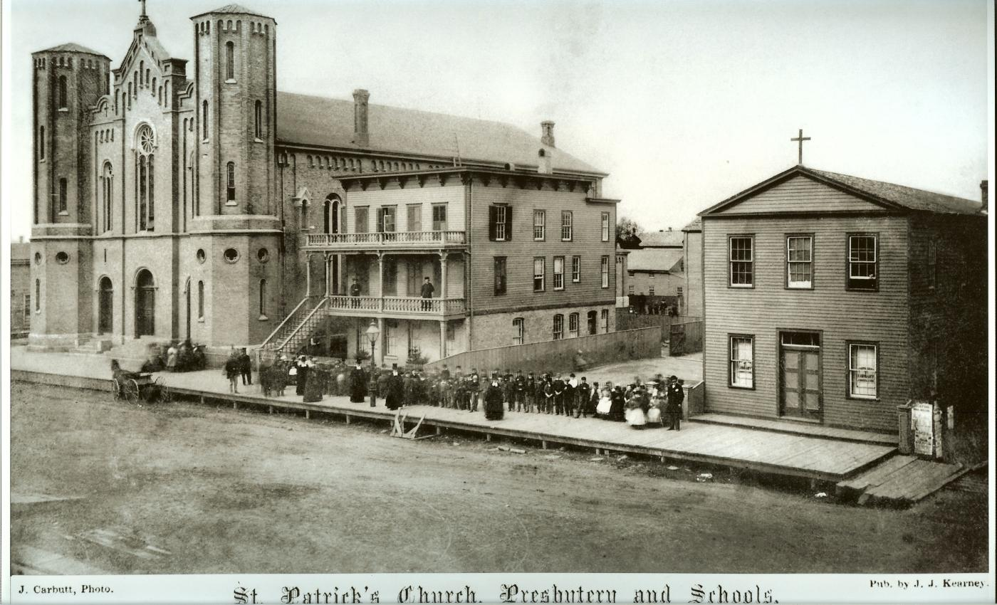 A photograph of St. Patrick's Church in the 1860s by J. Carbutt.