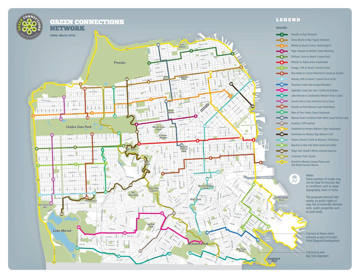 A map of San Francisco's 115-mile Green Connections Network includes 24 routes designed to provide habitat for plant and wildlife species. (Green Connections)