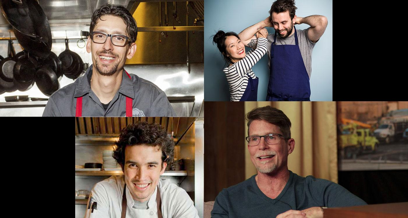 Clockwise from top left: Abraham Conlon of Fat Rice, Beverly Kim and Johnny Clark of Parachute, Rick Bayless of Topolobampo, and Erling Wu-Bower of Nico Osteria.