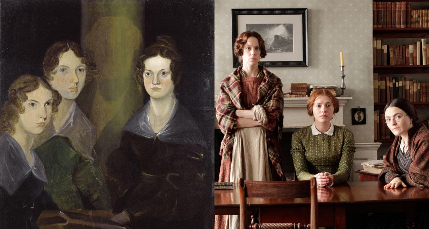 Branwell Bronte's portrait of his three sisters alongside the actors who portray them in 'To Walk Invisible.' (Courtesy of Michael Prince/BBC and MASTERPIECE)