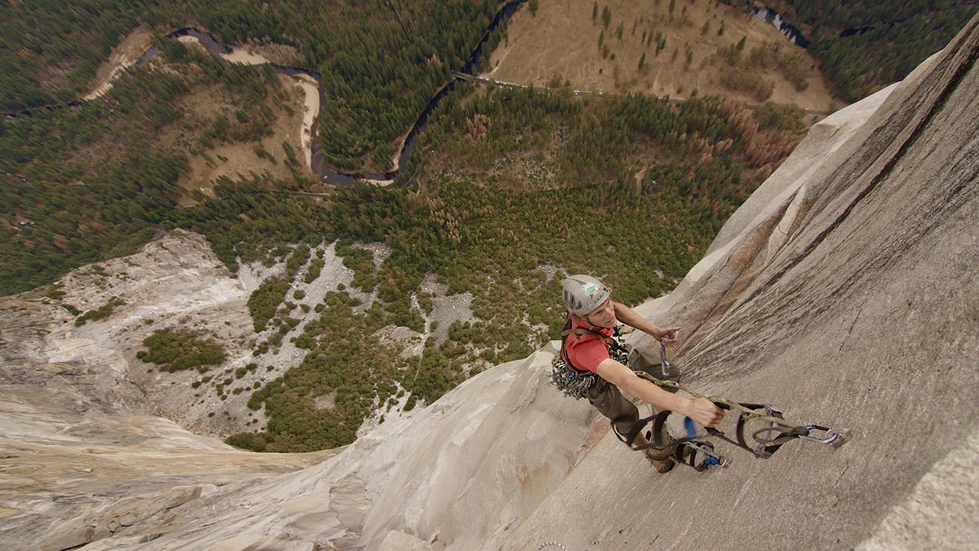 Geologist Roger Putnam scaling El Capitan in Yosemite Valley, California. He has made the ascent 41 times. (Courtesy of Jonathan Byers/© THIRTEEN Productions LLC)