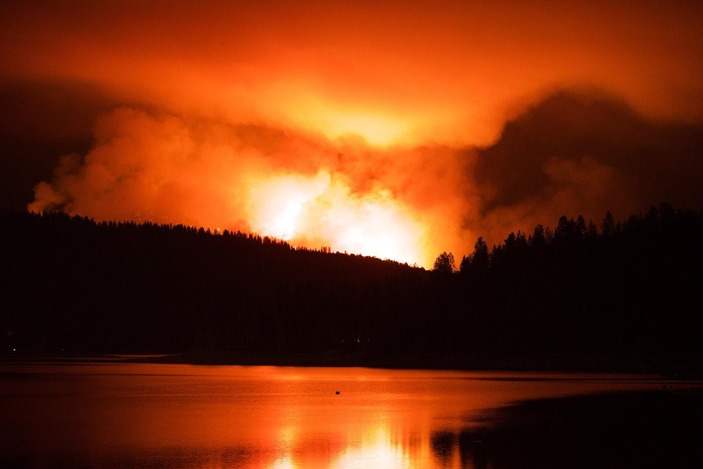 A wildfire just outside of Yosemite National Park in Bass Lake, California. (Courtesy of Joseph Pontecorvo/© THIRTEEN Productions LLC)