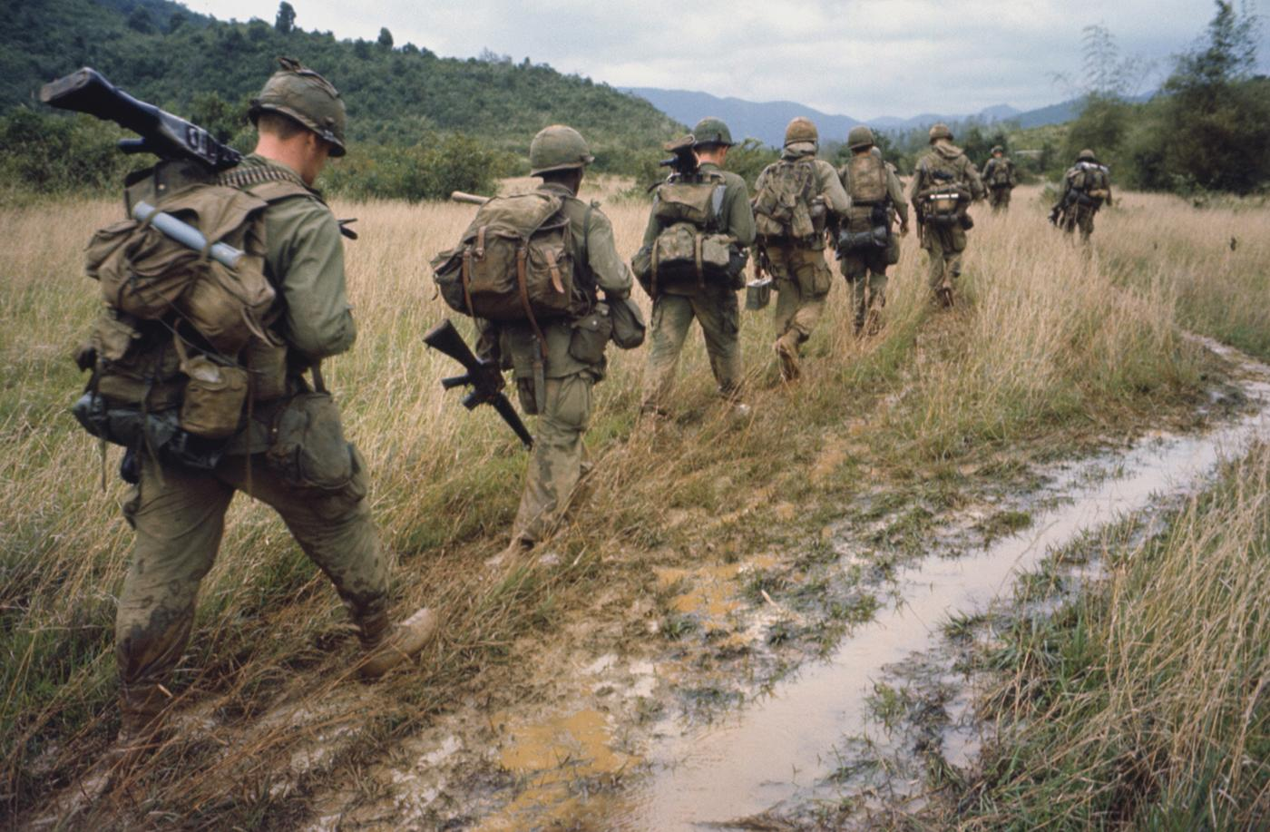 Soldiers on a search and destroy operation near Qui Nhon. January 17, 1967. Photo: Bettmann/Getty Images