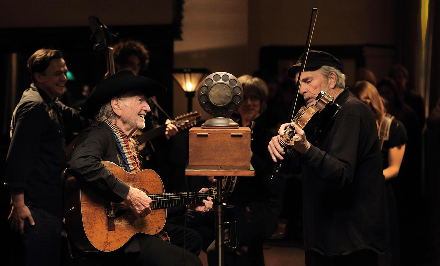 Willie Nelson and Merle Haggard in 'The American Epic Sessions.' Photo: ©2017 Lo-Max Records Ltd.