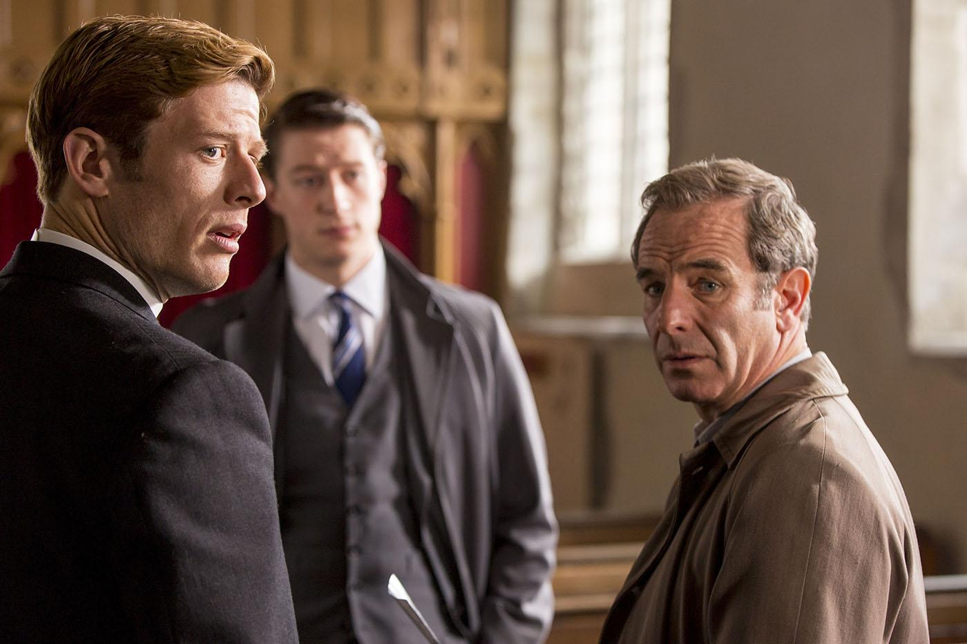James Norton as Sidney Chambers, Lorne MacFadyen as Phil Wilkinson and Robson Green as Geordie Keating in Grantchester. Photo: Colin Hutton and Kudos/ITV for MASTERPIECE