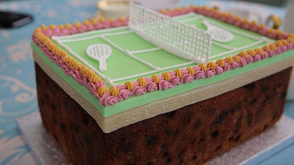 Tennis Fruit Cake from The Great British Baking Show. Photo: Love Productions