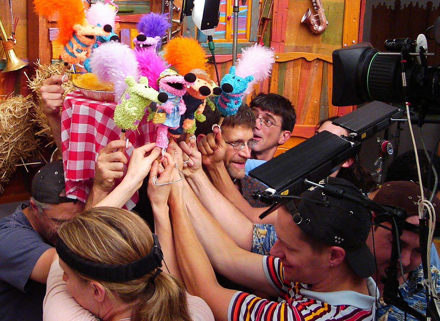 Doing puppetry for a TV show can get crowded. Photo: Courtesy Spiffy Pictures