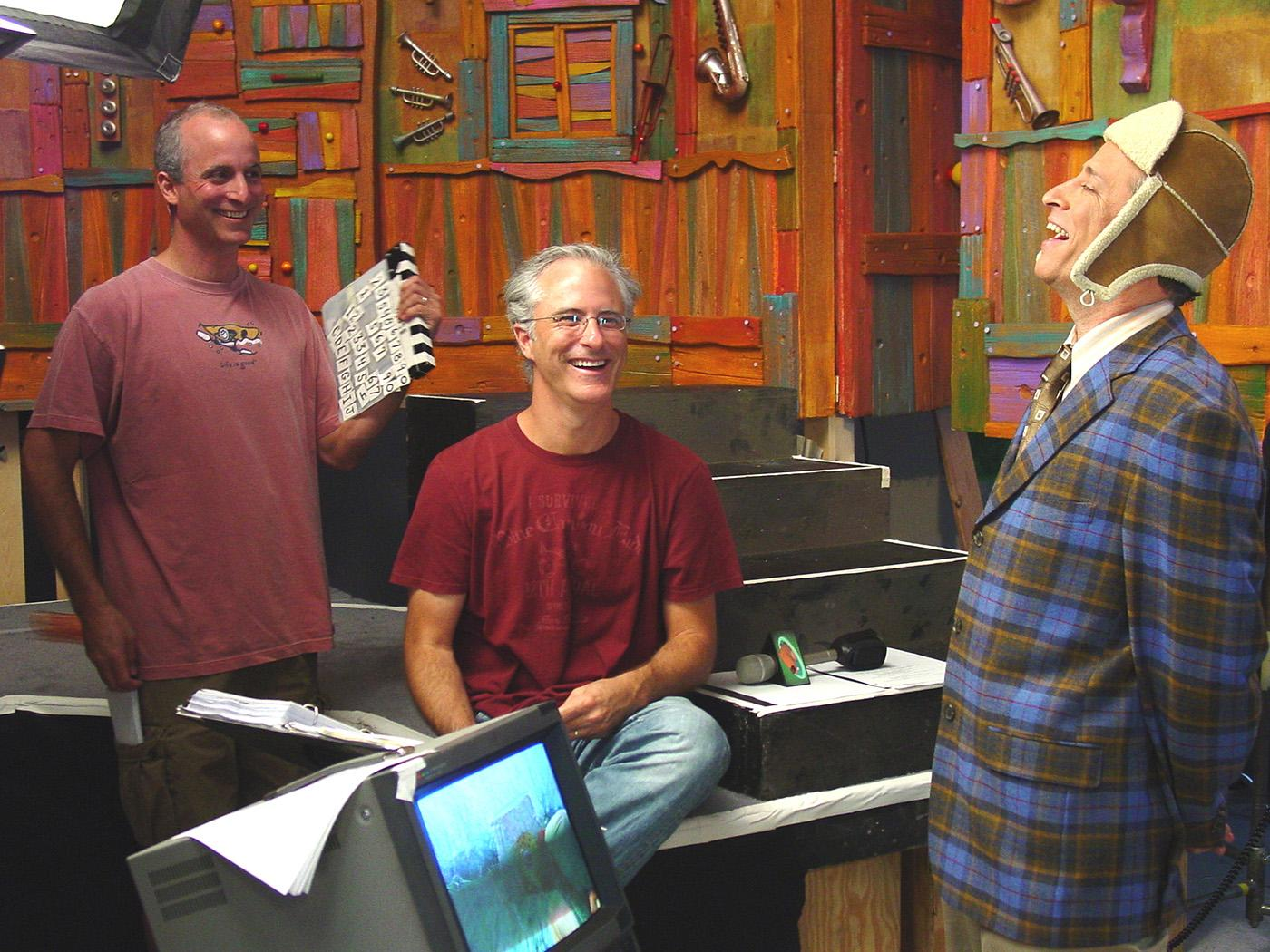 Adam and David Rudman with Jon Stewart on the set of 'Jack's Big Music Show.' Photo: Courtesy Spiffy Pictures
