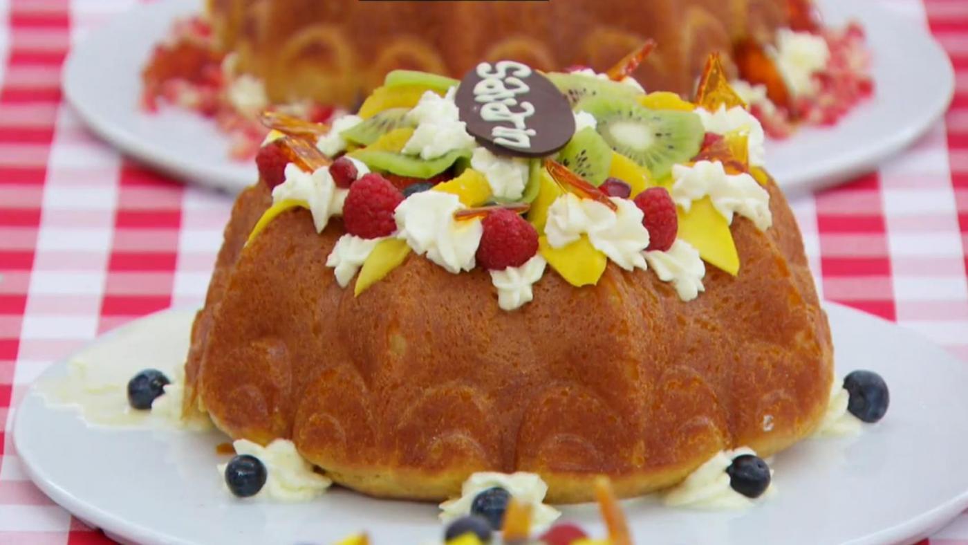 A savarin cake on The Great British Baking Show.