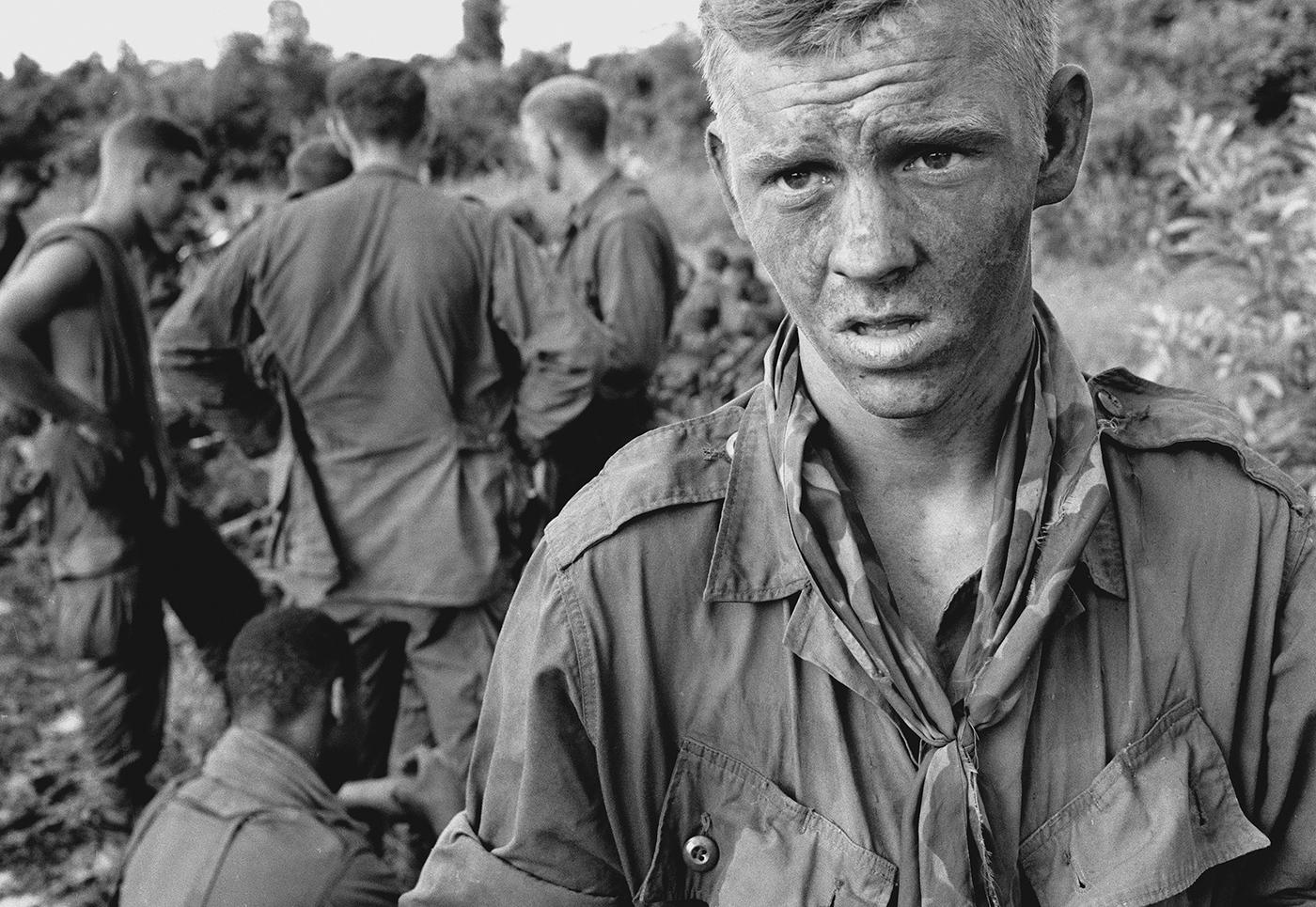 173rd Airborne Brigade paratrooper after an early morning firefight. July 14, 1966. Photo: AP/John Nance