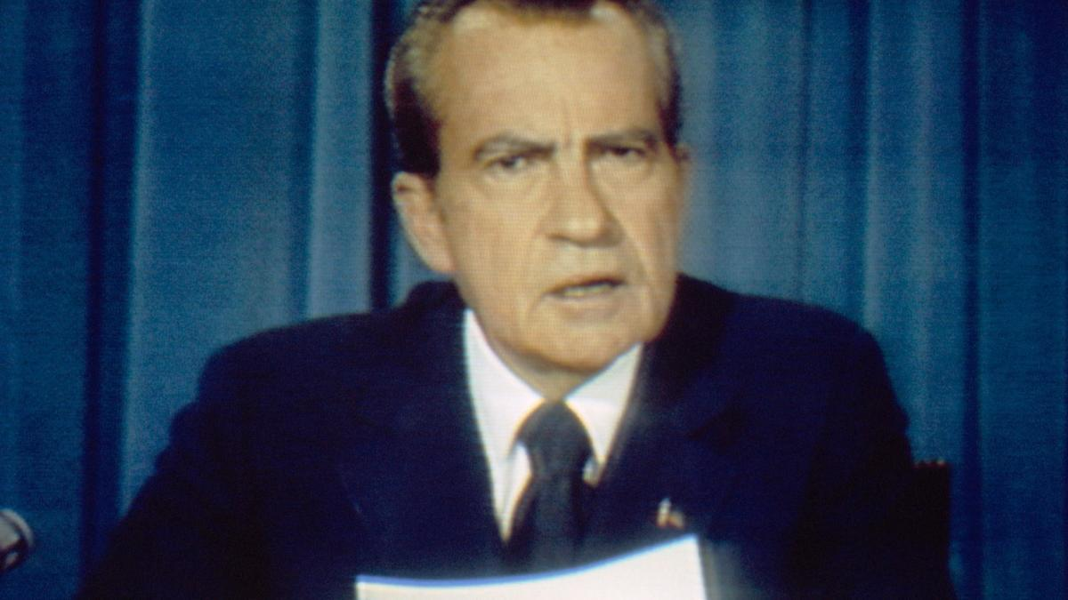 Richard Nixon making his resignation speech on August 8.