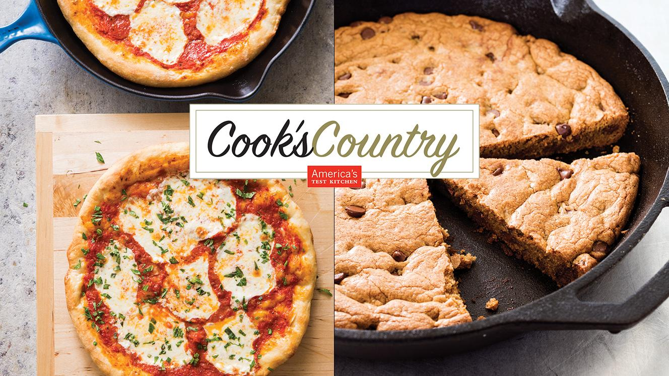 Skillet Pizza and Chocolate Chip Skillet Cookie from Cook's Country. Photos: Joe Keller (left); Daniel J. Van Ackere