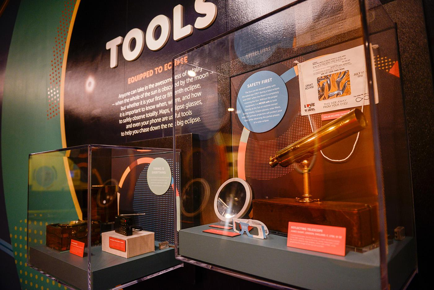 Eclipse-watching tools, old and new, at the Adler Planetarium's Chasing Eclipses exhibit. Photo: Adler Planetarium