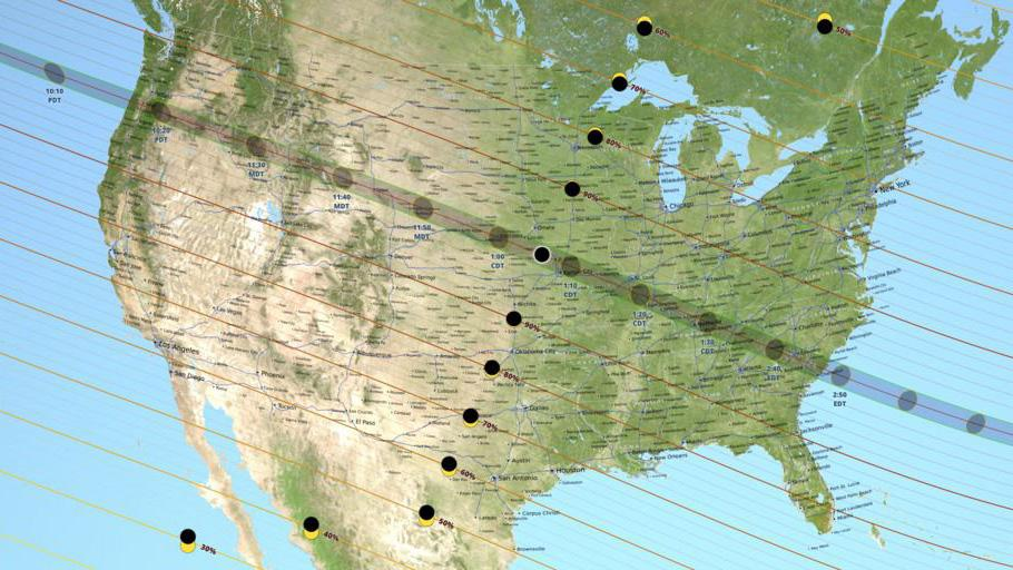 The eclipse's path of totality over the United States. Image: NASA