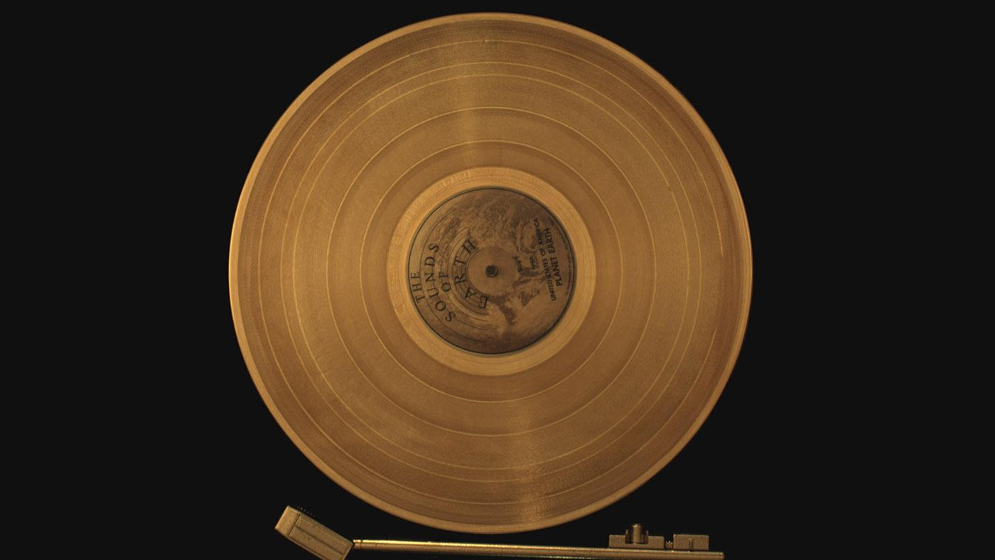 A copy of Voyager's Golden Record on a turntable. Photo: Tangled Bank Studios