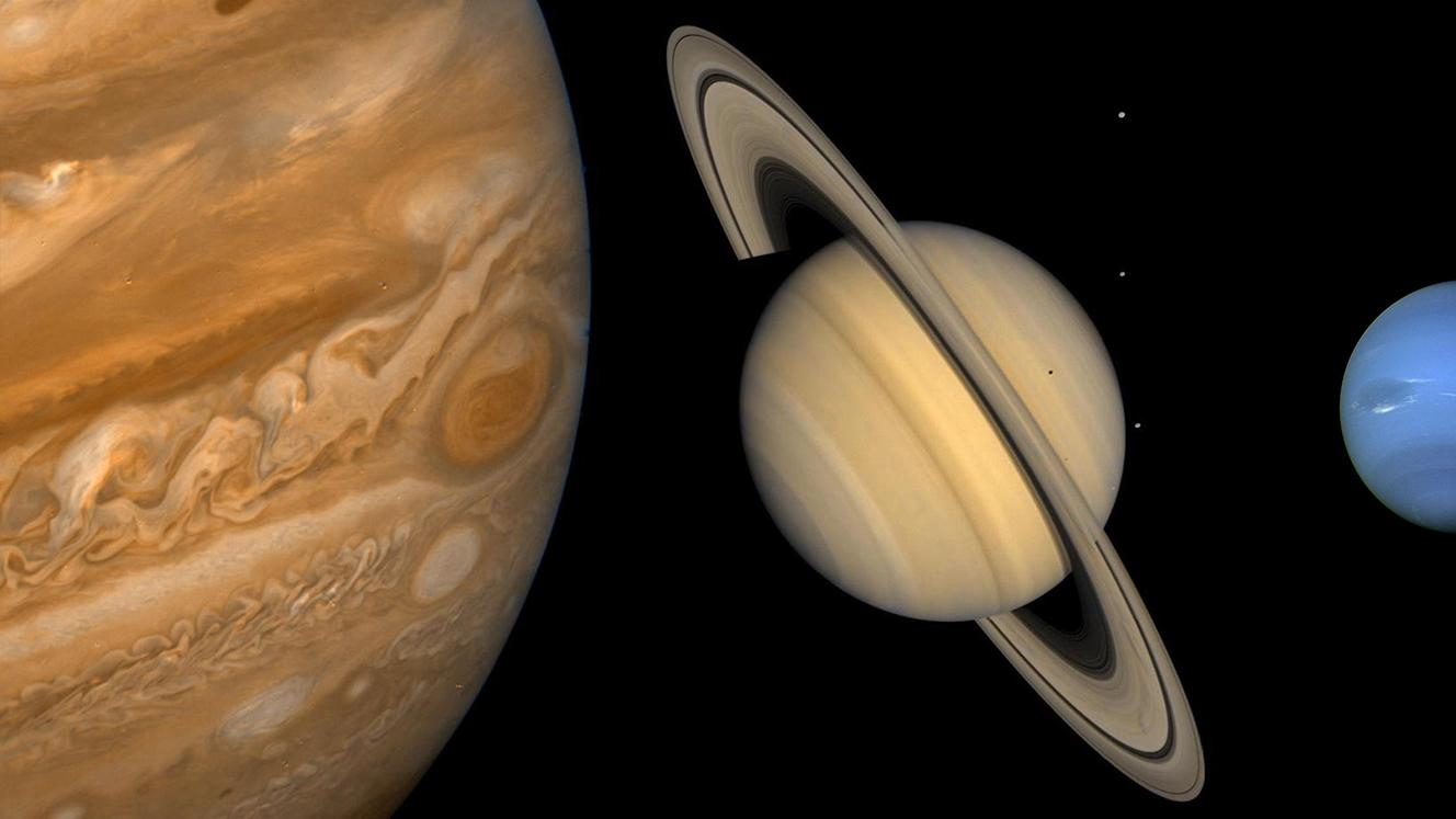 Jupiter, Saturn, and Neptune in photos taken by the Voyager spacecraft. Photo: NASA/Jet Propulsion Laboratory