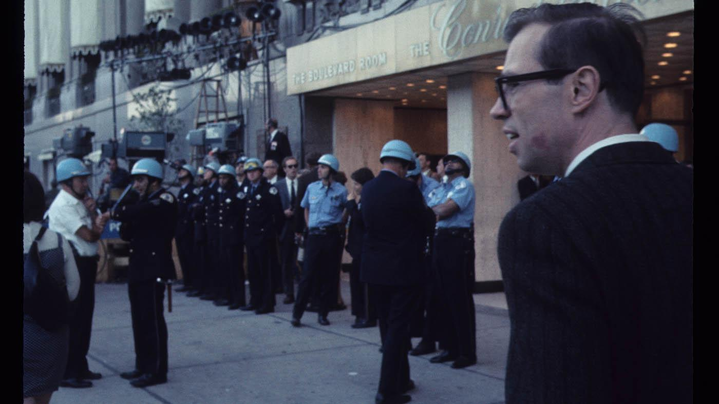 Chicago Police outside the Conrad Hilton Hotel in Chicago during the 1968 Democratic National Convention. Photo: Bea A. Carson