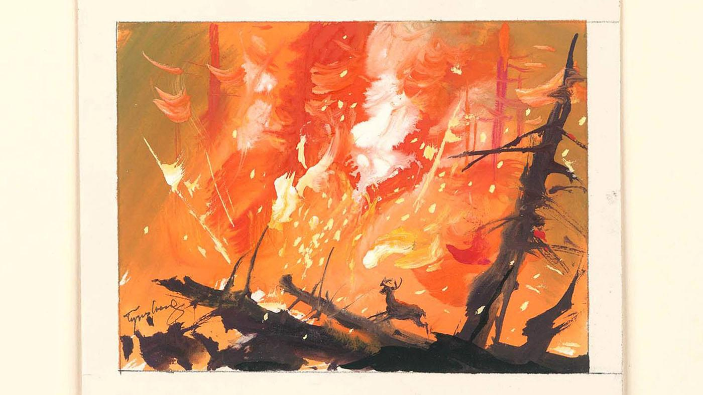 Visual development for Bambi, 1942, in watercolor on paper. Image: Courtesy of Tyrus Wong