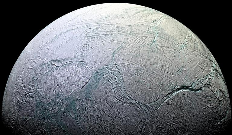 Saturn's moon Enceladus. Image: Courtesy NASA