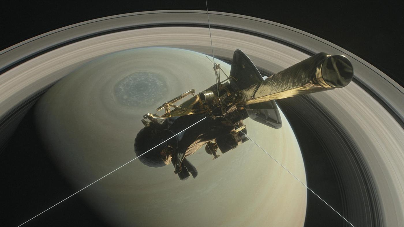 A rendering of NASA's Cassini above Saturn's northern pole, ready to dive into Saturn's rings. Image: Courtesy NASA