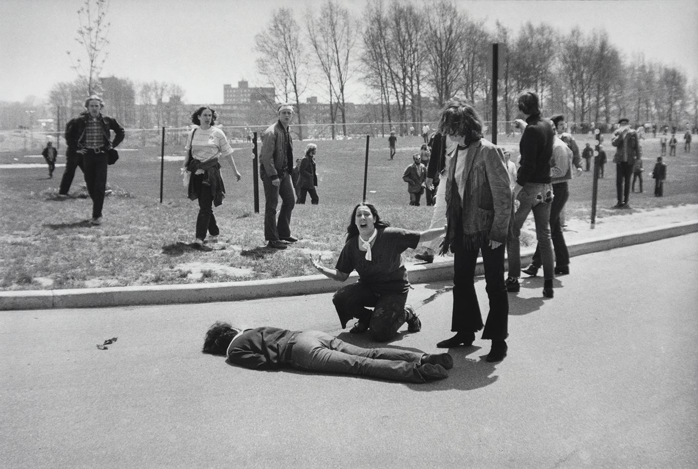 Mary Ann Vecchio kneels over the body of fellow student Jeffrey Miller, who was killed by Ohio National Guard troops during an antiwar demonstration at Kent State University. May 4, 1970. Photo: John Filo/Getty Images