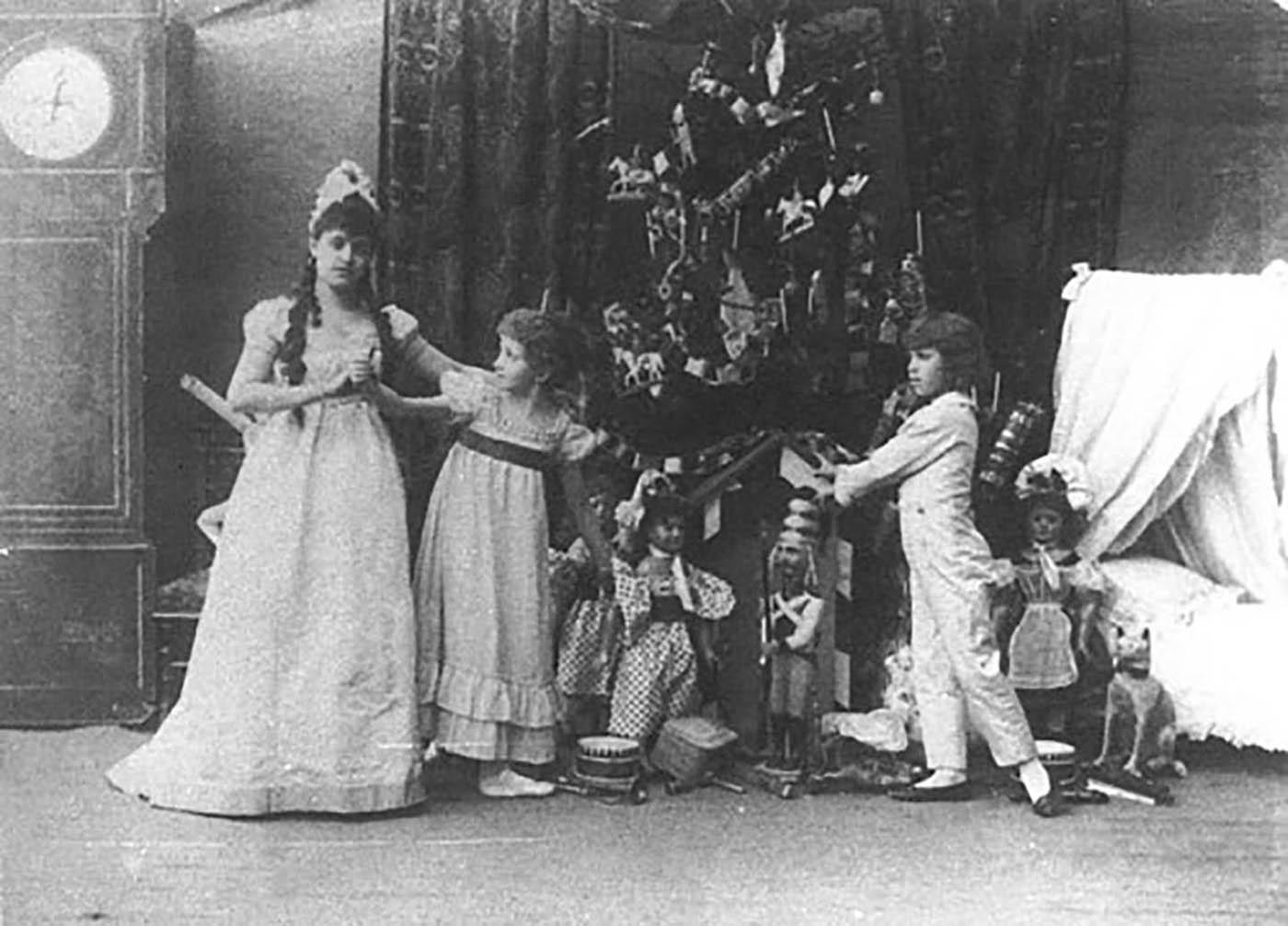 (Left to right) Lydia Rubtsova as Marianna, Stanislava Belinskaya as Clara and Vassily Stukolkin as Fritz, in the original production of 'The Nutcracker.'