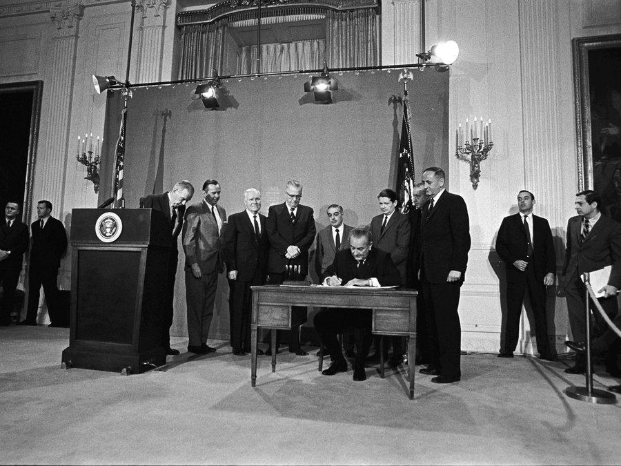 President Lyndon B. Johnson signs the Public Broadcasting Act of 1967. Photo: Yoichi Okamoto/LBJ Library