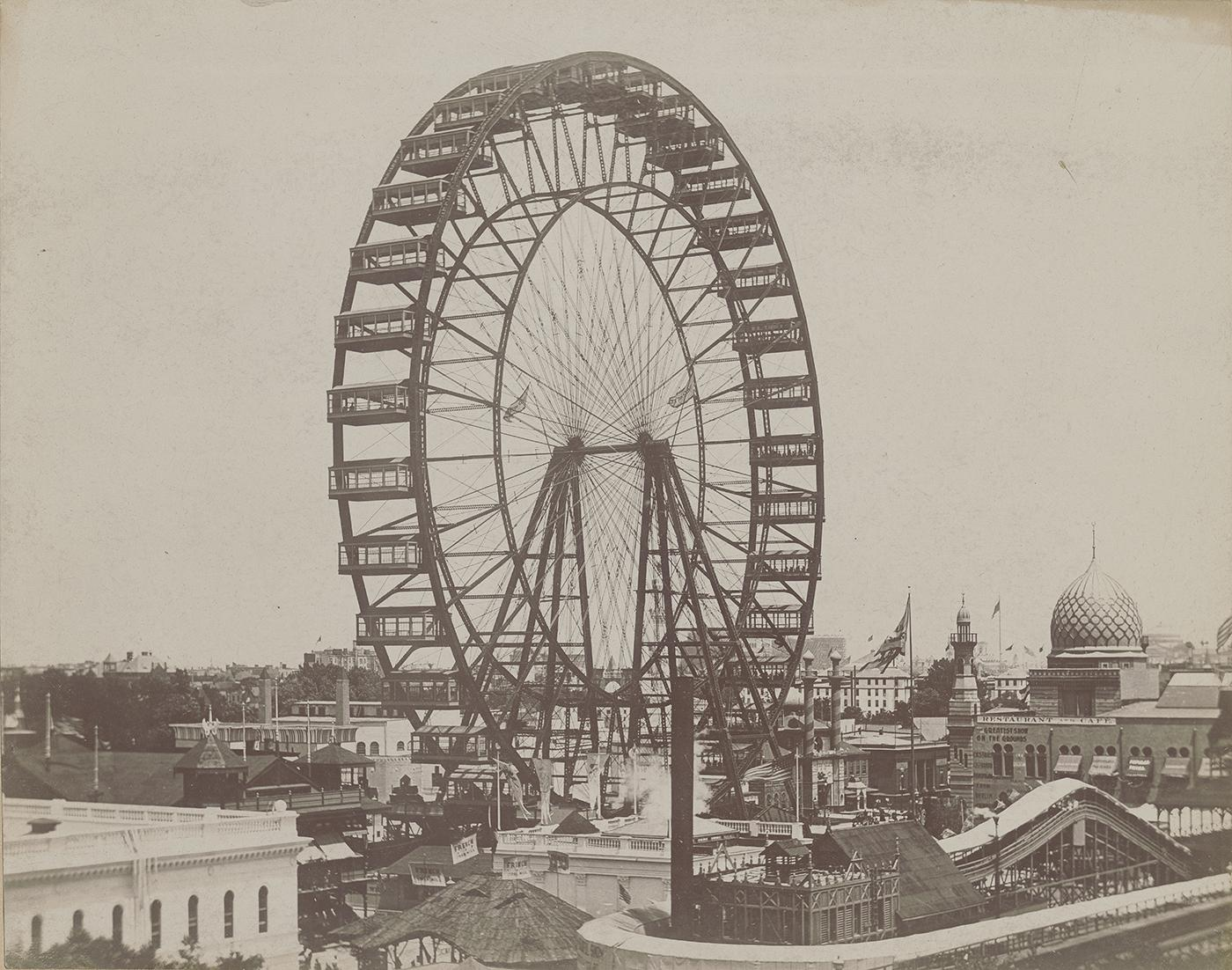 The first Ferris Wheel towers over the Midway at the 1893 World's Columbian Exposition in Chicago