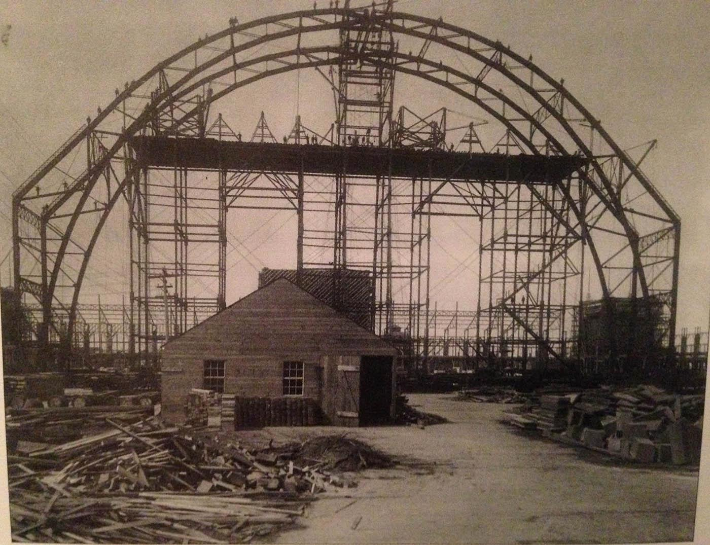A shack standing amidst the construction of the 1893 World's Columbian Exposition in Chicago