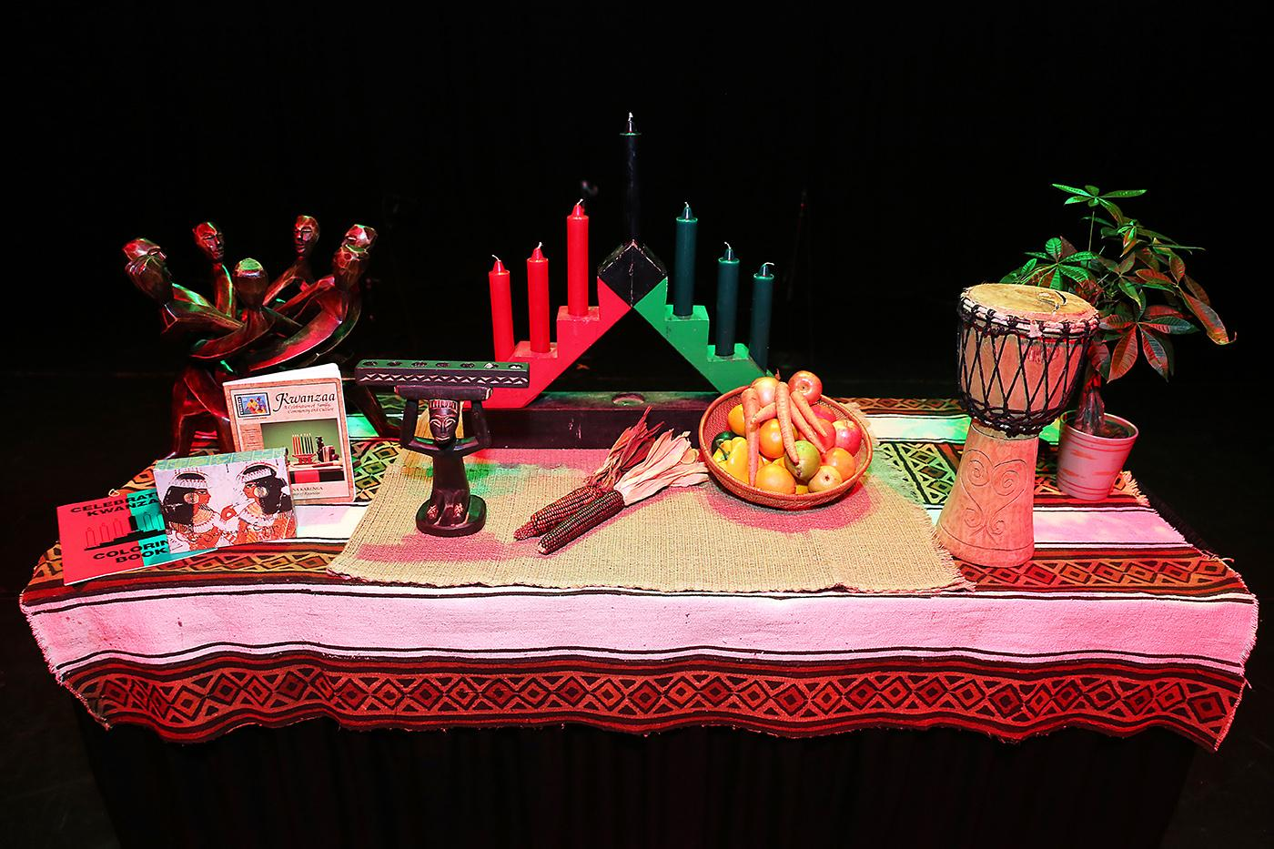 A Kwanzaa table at Chicago's DuSable Museum of African American History, including a kinara