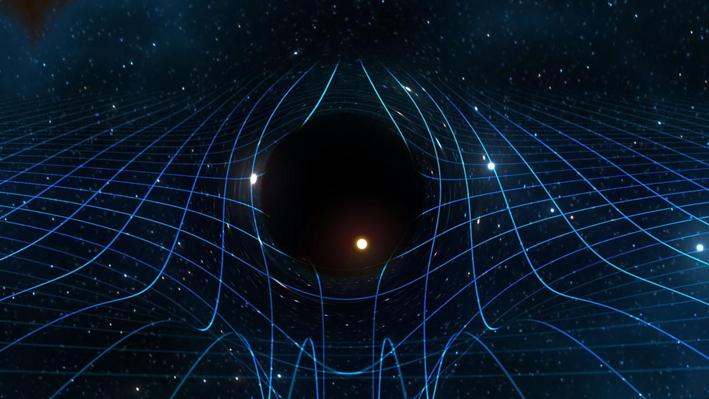 An illustration of a black hole curving spacetime. Image: Courtesy WGBH