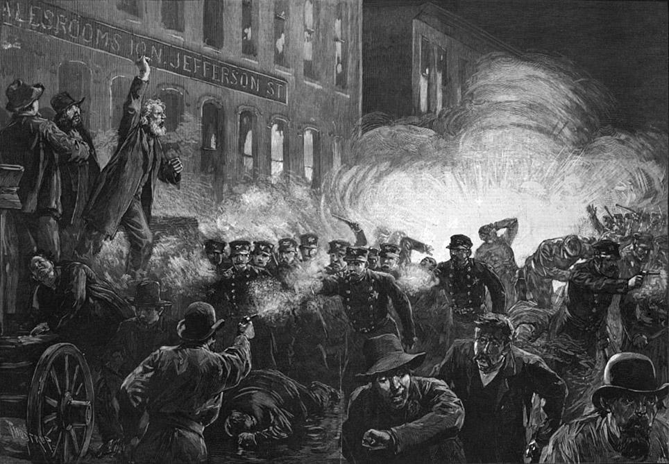 An engraving of the Haymarket Affair from Harper's Weekly