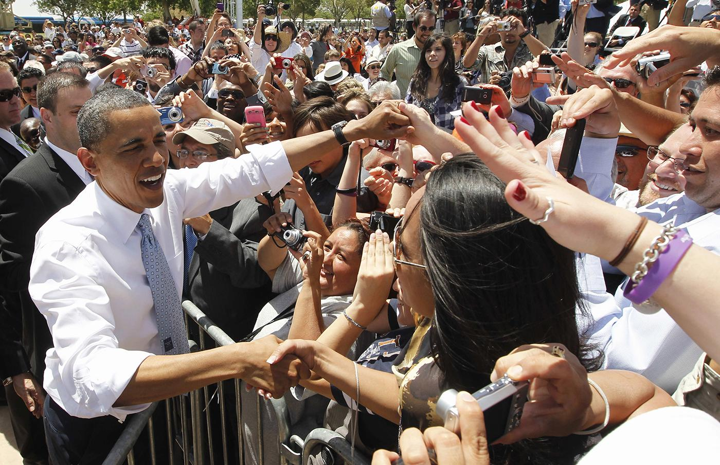 President Barack Obama greets audience members after he spoke about immigration reform at Chamizal National Memorial Park in El Paso, Texas, Tuesday, May 10, 2011. Photo: AP Photo/Charles Dharapak