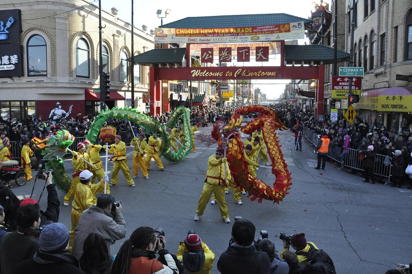 A Chinese New Year parade in Chicago's Chinatown. Courtesy: Chicago Chinatown Chamber of Commerce and Special Events