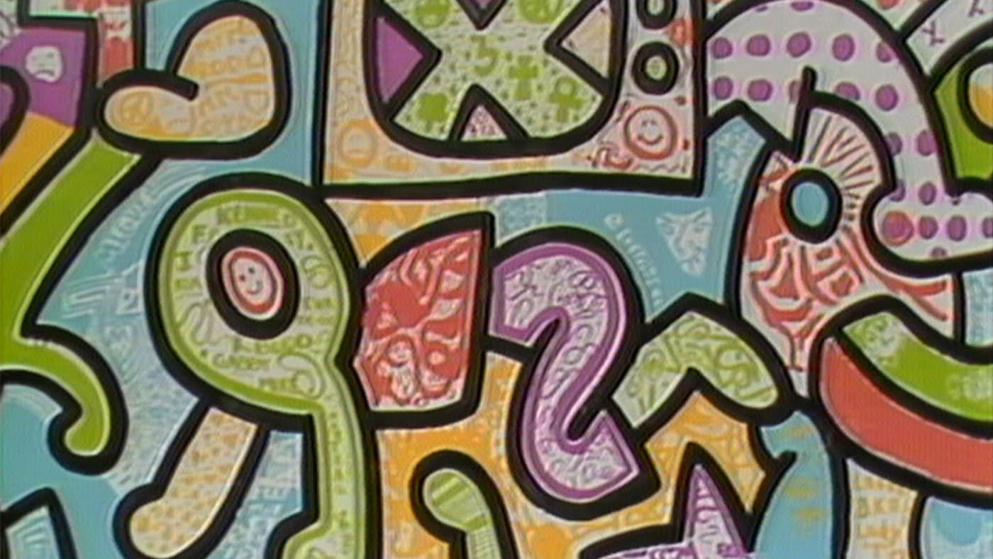 The mural Keith Haring created in Chicago with students in 1989.