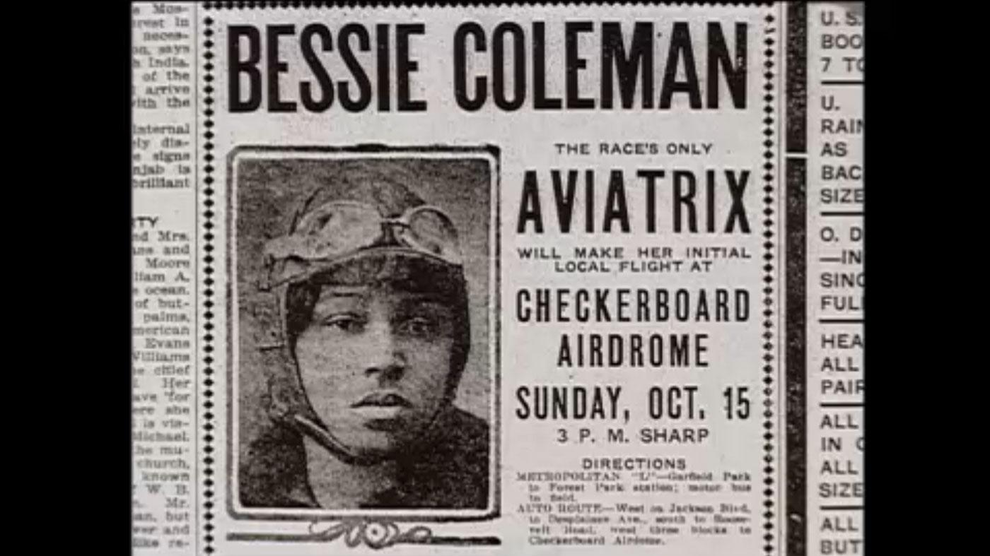 An advertisement for Bessie Coleman's first air show in the Chicago area