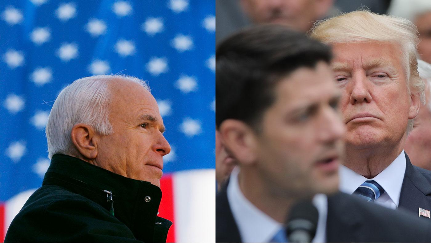 John McCain; Donald Trump behind Speaker of the House Paul Ryan. Photos: REUTERS/Brian Snyder; REUTERS