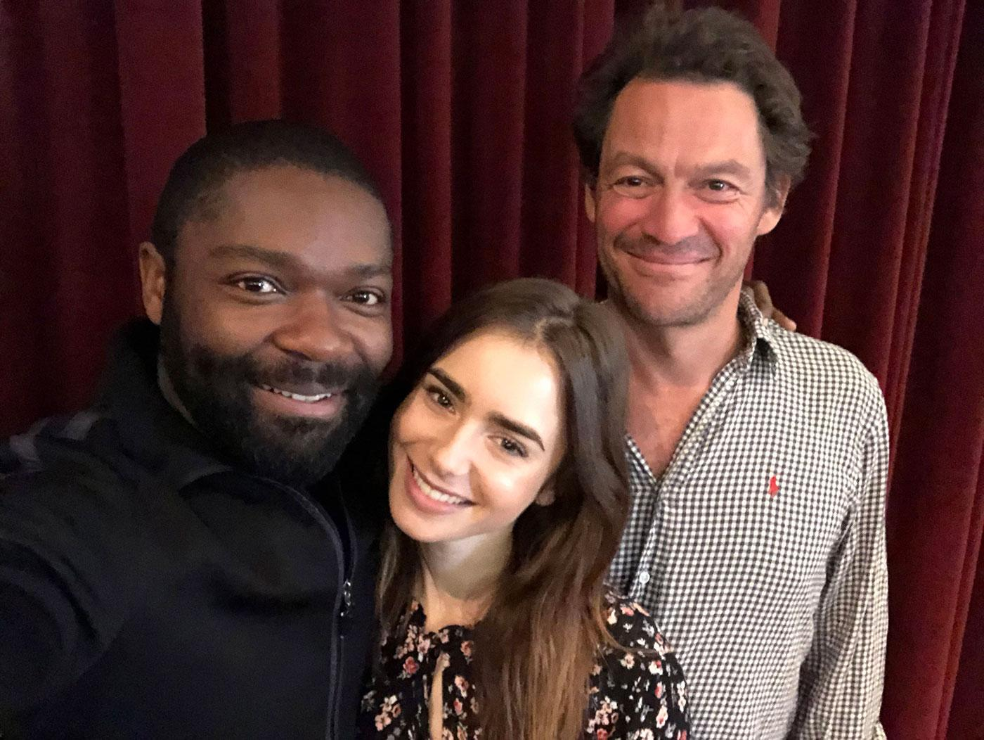 David Oyelowo, Lily Collins, and Dominic West while filming 'Les Misérables.' Photo: BBC/Lookout Point/David Oyelowo